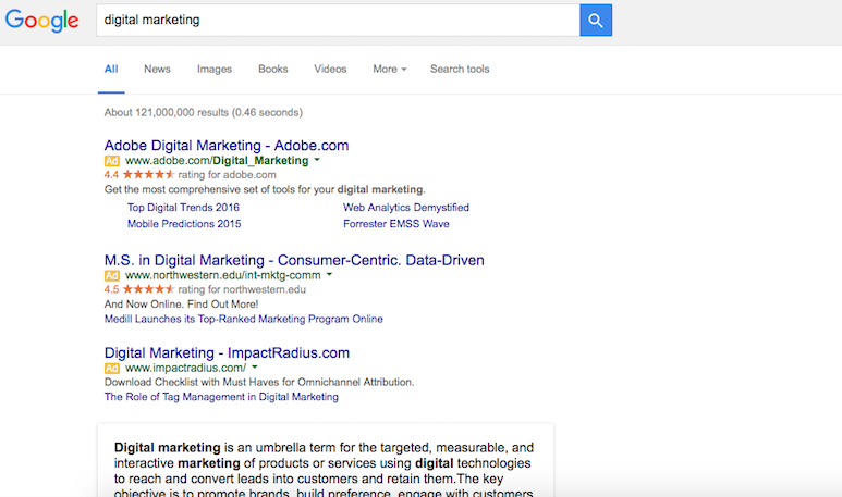 PPC Ads from  google