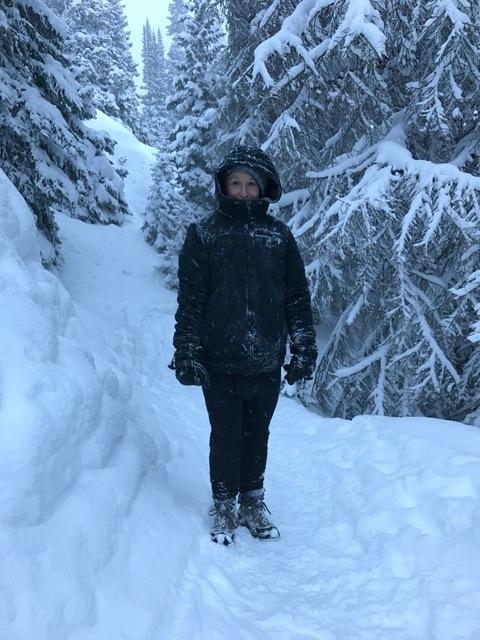 Trekking frozen terrain