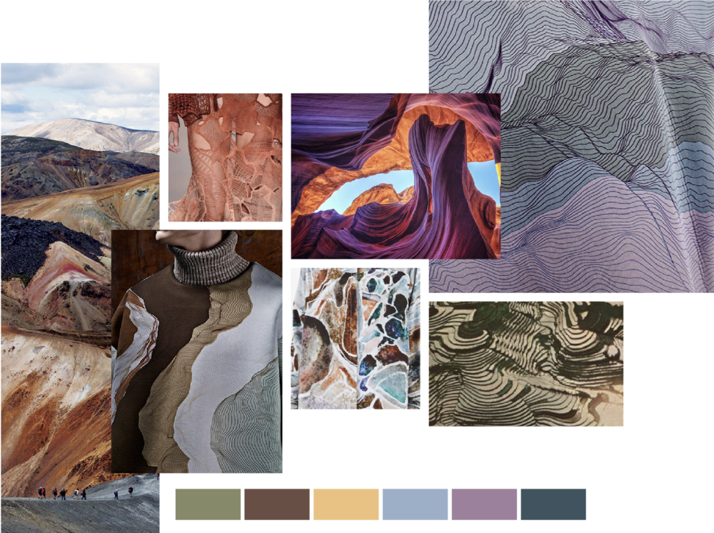 Moodboard I compiled to help visualize trend research, featuring fluid forms, unruly stripes, natural grains, and textural repeats.