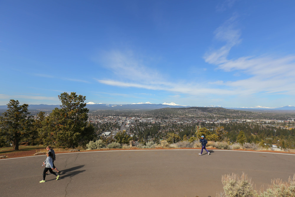 Hikers at Pilot Butte Bend Oregon