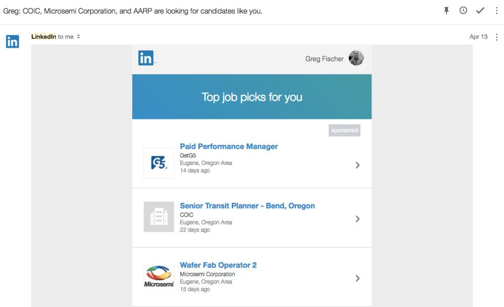 LinkedIn job posting emails showing Eugene location for local companies who are based in Bend