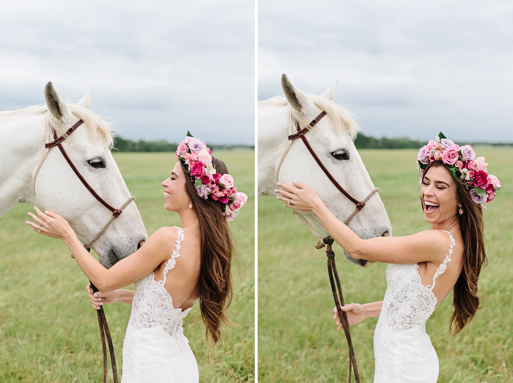 Happy Bride with White Horse and Flower Crown | Cassie Schott Photography