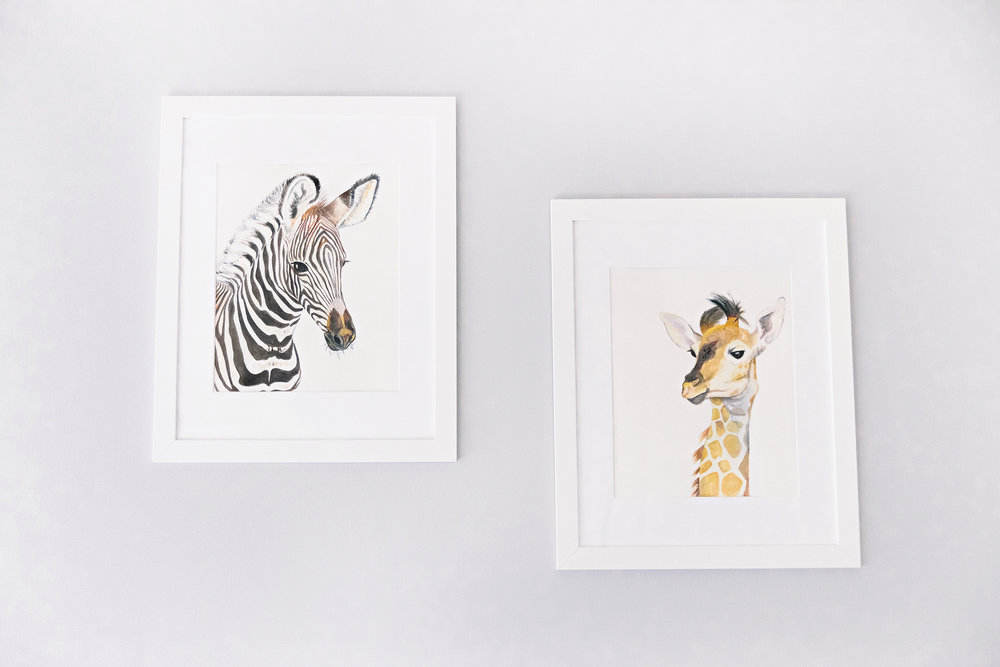 Zebra & Giraffe Baby Animal Nursery Art Prints | Photo by Cassie Schott Photography