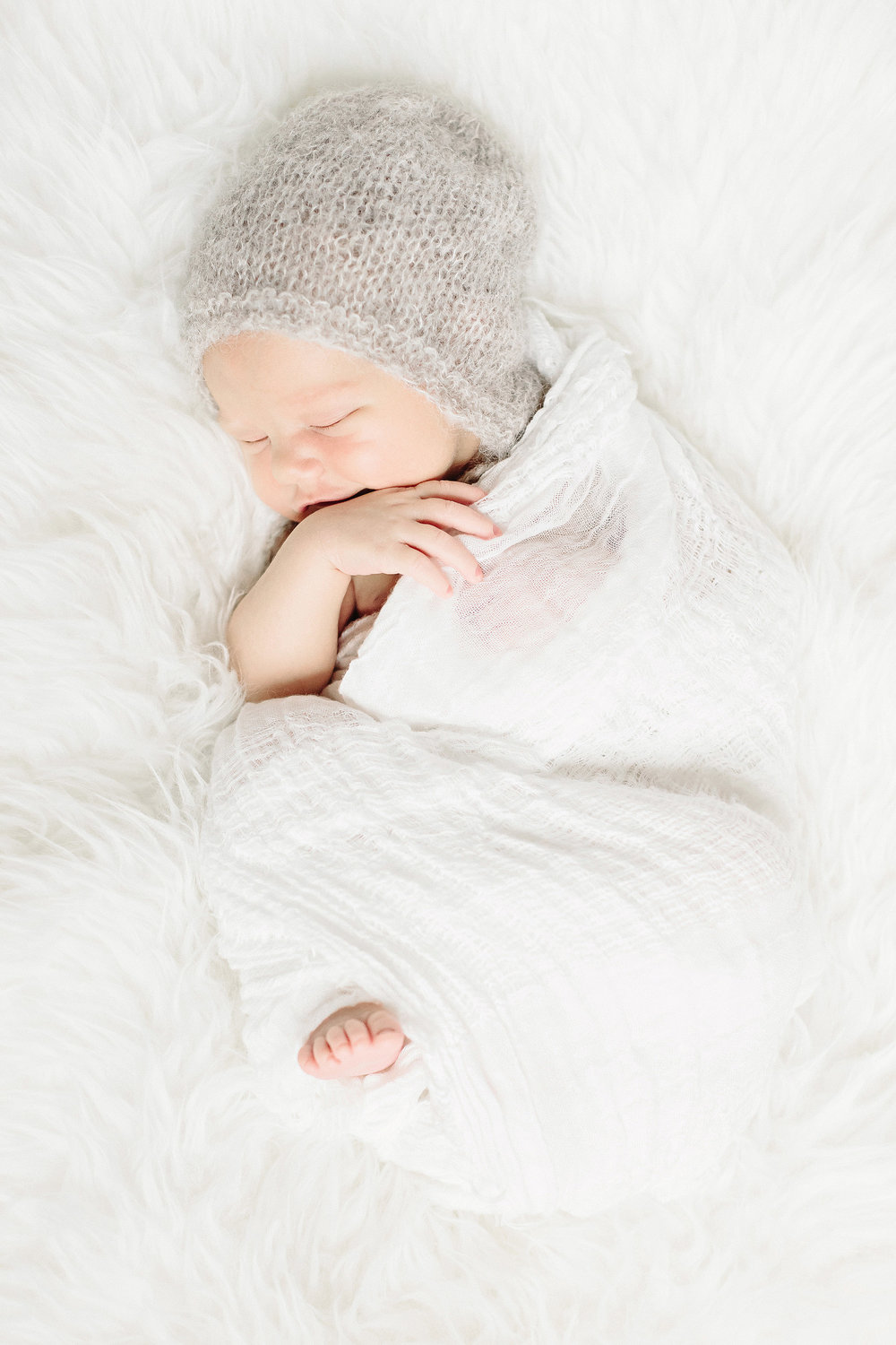 Sleeping Baby in Gray Knit Hat | Cassie Schott Photography