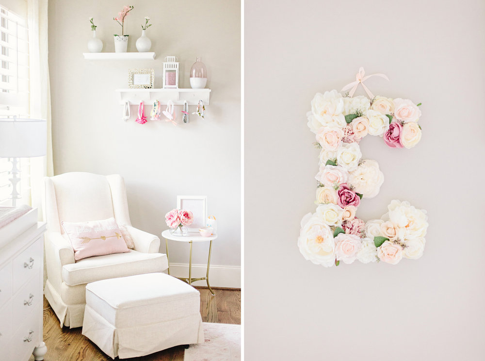 Houston Lifestyle Newborn Photography_Nursery Inspiration_Glider Chair_Flower Letter