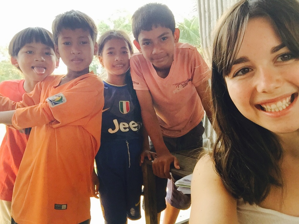 A few of my students and me during  cheng leng  (recess) in Cambodia