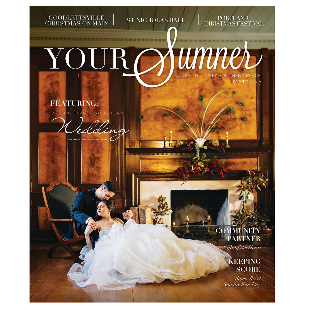 The Winter issue of YOUR Sumner featuring Distinctively Southern Wedding will hit stands this week! This stunning cover was captured at Rock Castle State Historic Site.