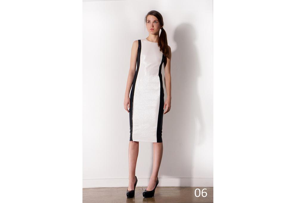06 Blk.&Wht. Lurex & Silk Pencil dress with zipper slits & pkts_KJ0716DW004.jpg