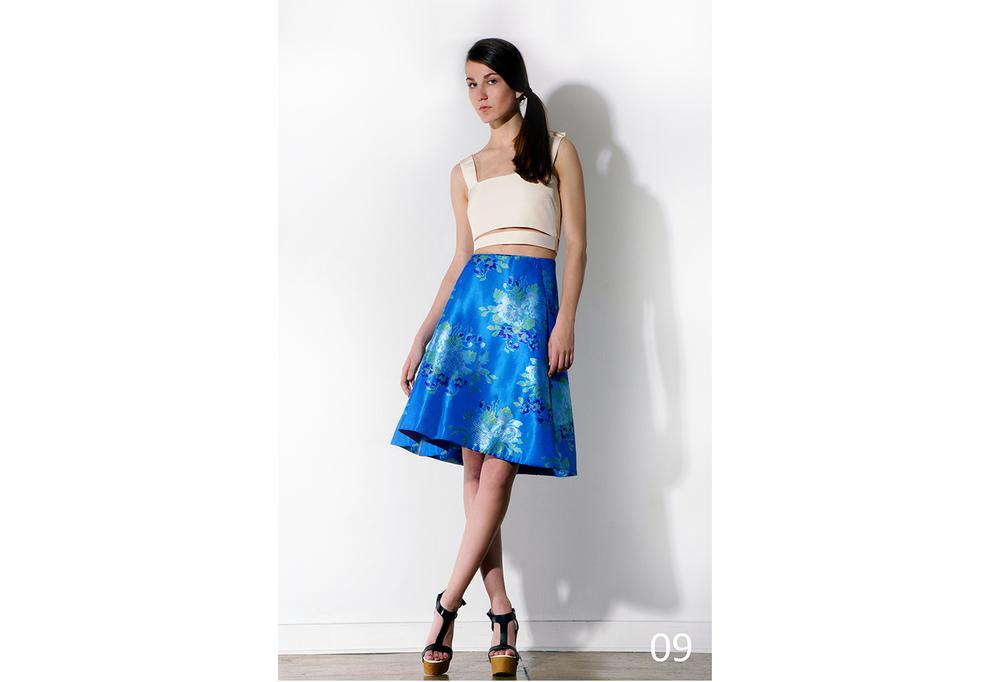 09 Pleated floral jacquard skirt - ivory crop bra_KJ0716SW010.jpg
