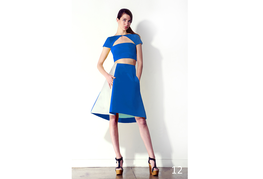 12 Azure faille triangle cut out cropped top w-cap sleeve & Azure silk faille skirt w-front pleat_KJ0716SW010.jpg