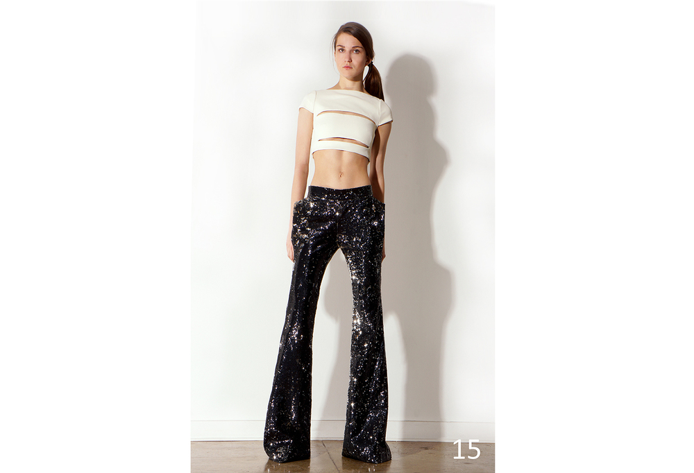 15 Blk. & Silver sequin wide bottom pants & Cut out cropped top w-cap sleeve (ivory-black)_ KJ0716PW002.jpg