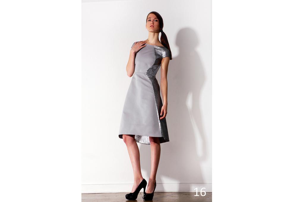 16 Asymmetric A-line dove grey ottoman & silver foild panel dress_KJ0716DW012.jpg