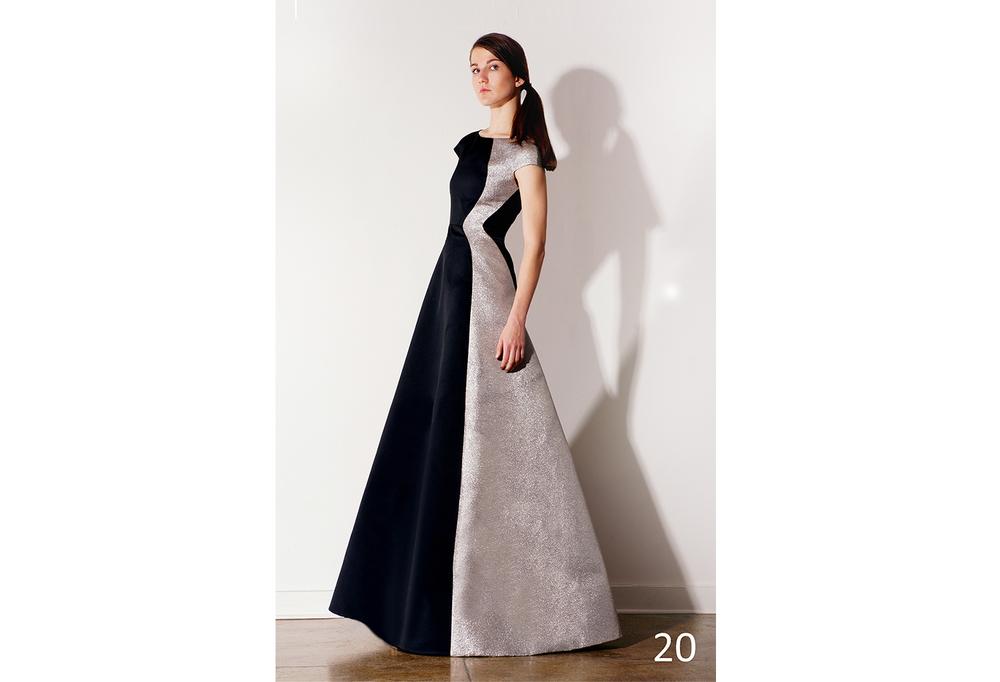 20 Asymmetrical A-line black duchess satin w-silver foiled panel and cap sleeve_KJ0716GW002.jpg