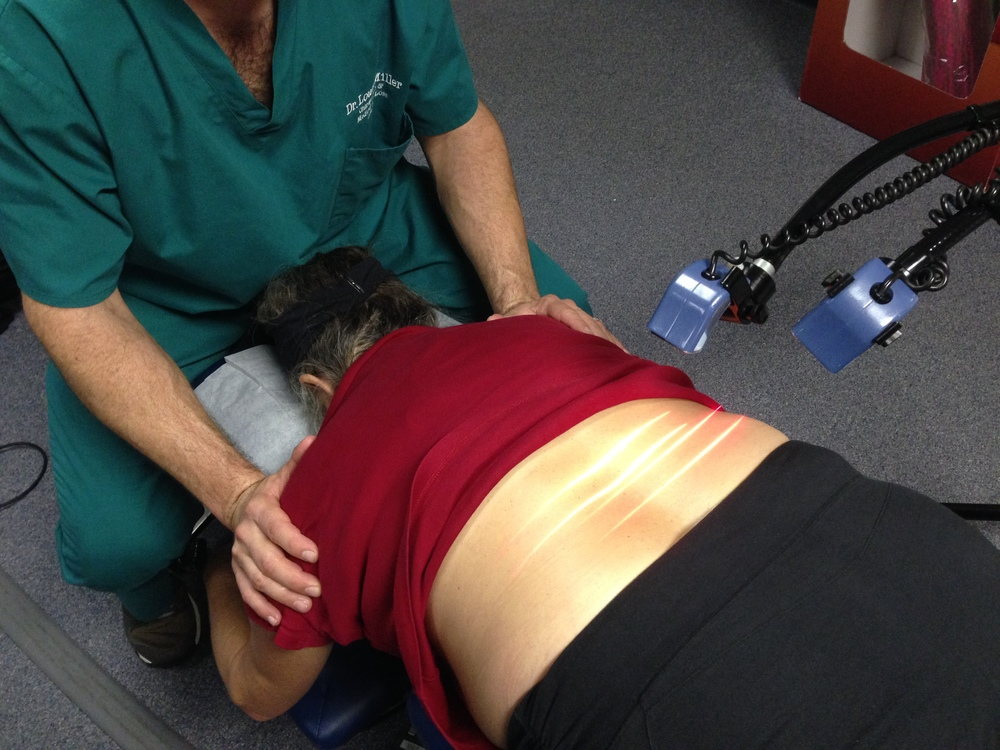Cold Laser Therapy on lower back.