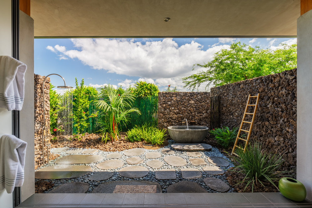 Attractive, spacious and private shower garden off the Master Bath.