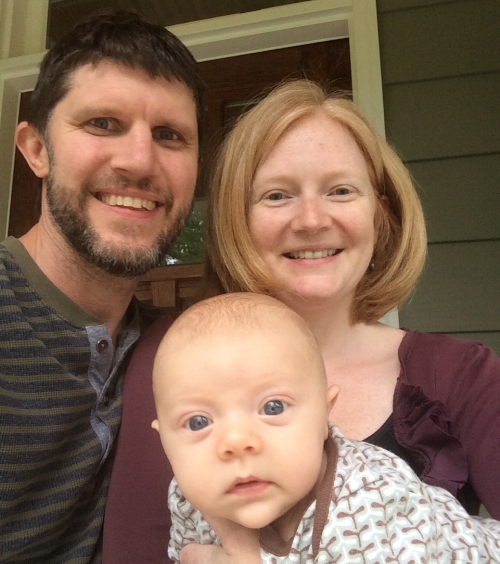 Anna, with her husband, Randall, and their son, Elliott at their home, here in the Triangle.