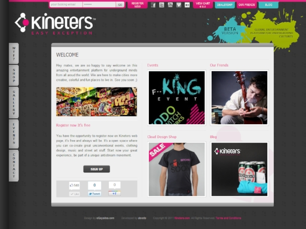 Beta version of Kineters.com