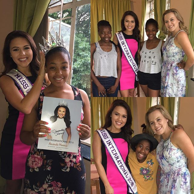 The Uitkoms Girls were so welcoming of Amanda and Mo! Our Founder was able to provide all residents with one of her official cards and they did a mini photo shoot with her crown. The young ladies had many questions about America and Miss International.