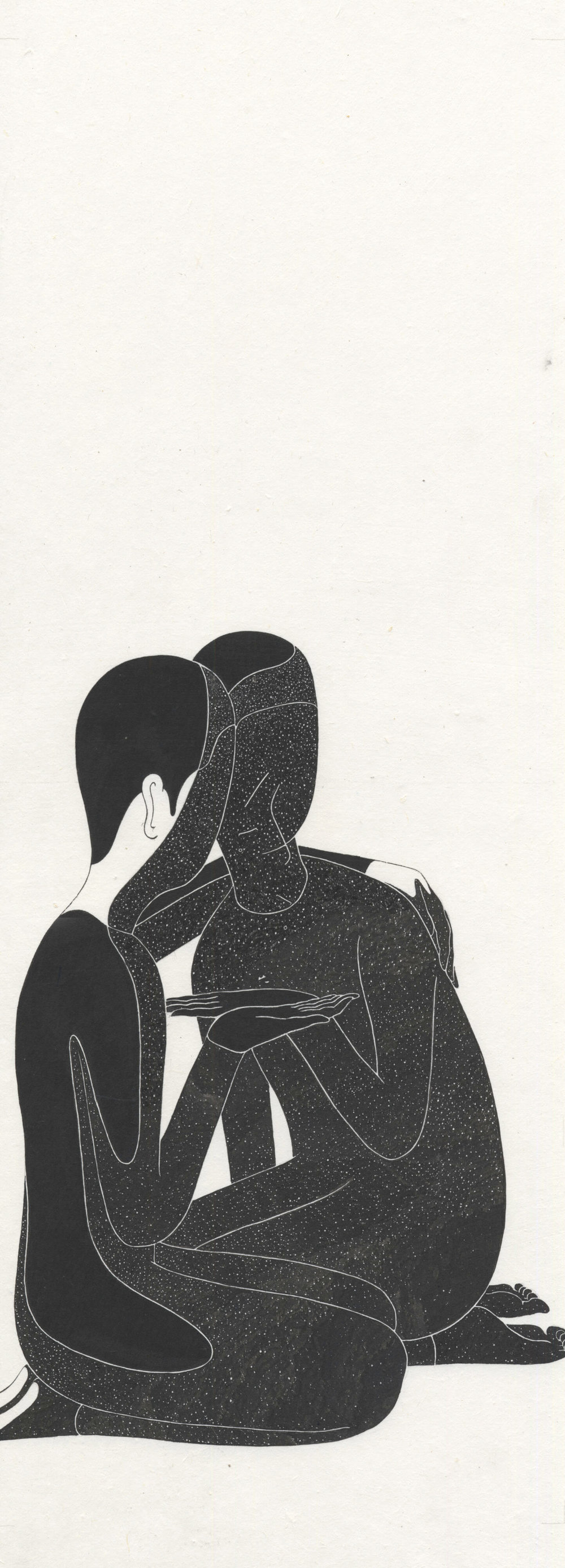 Sharing Face with Me in The Shadow   (2015)  Ink on Korean Paper 26 x 69 cm   Daehyun Kim