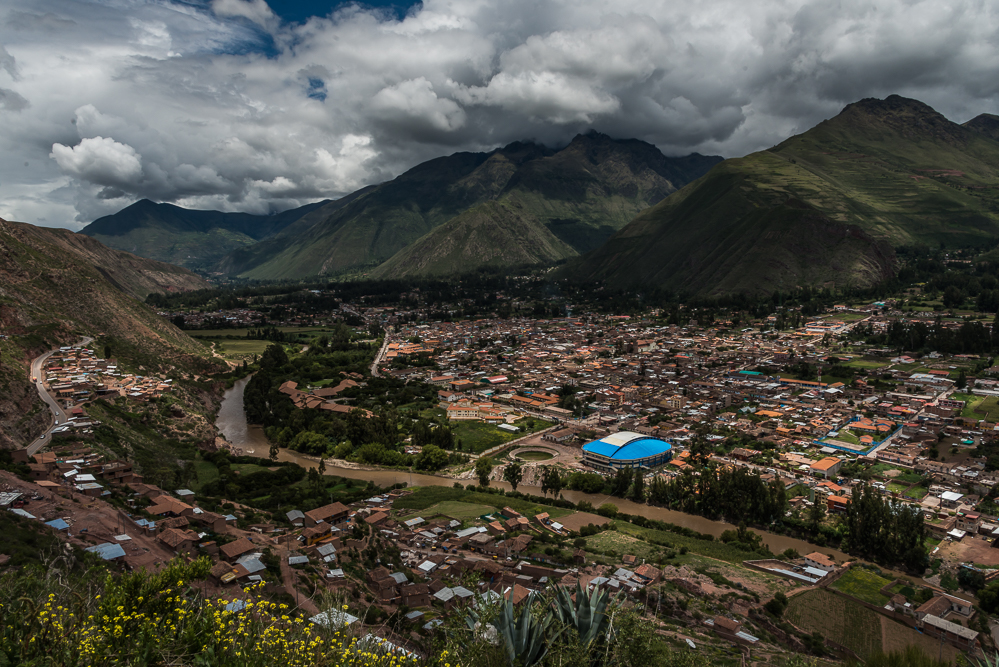 A view of Urubamba from above, before we started our descent into the valley.