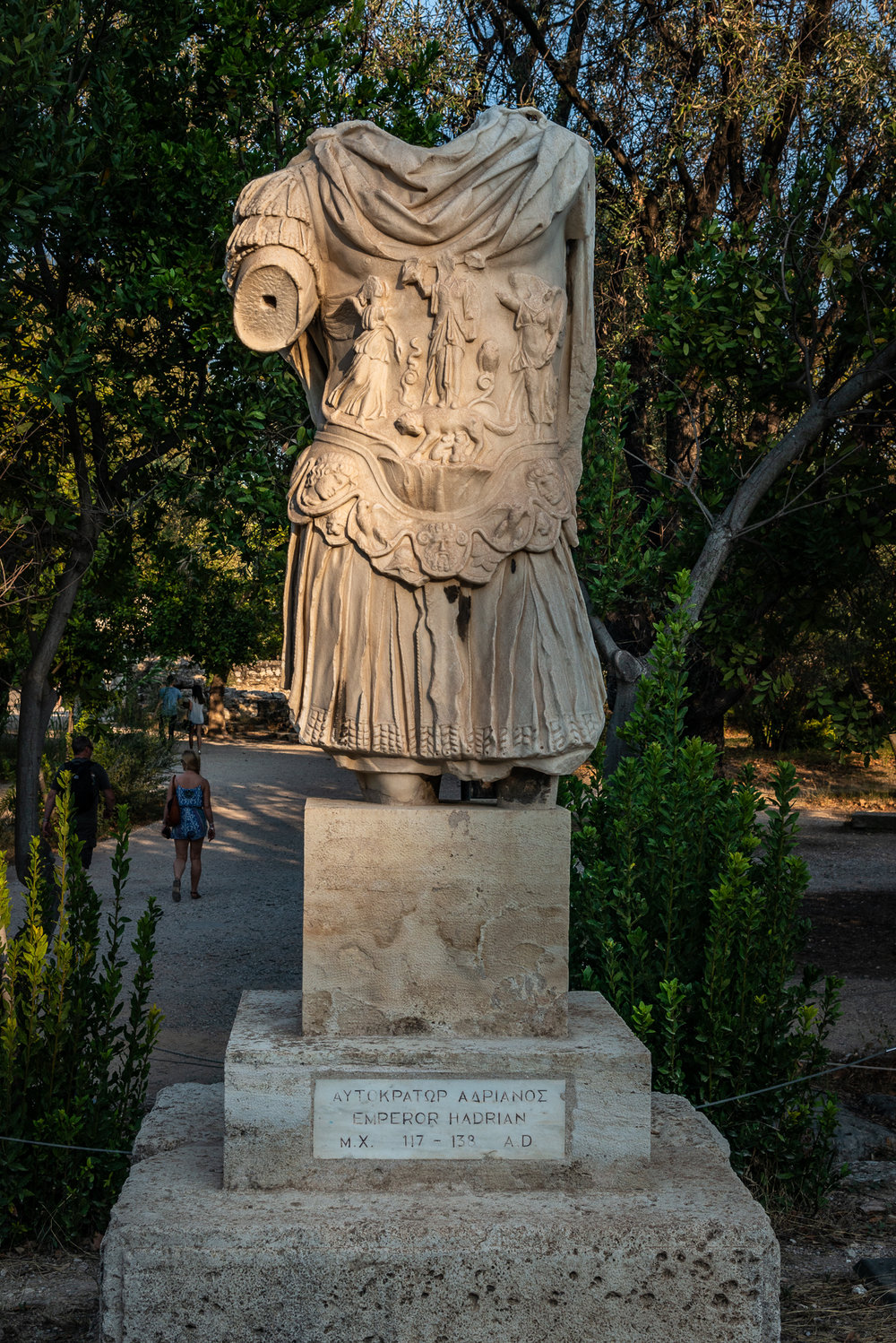 A statue of Emperor Hadrian, 117-138 AD which stands in the Agora