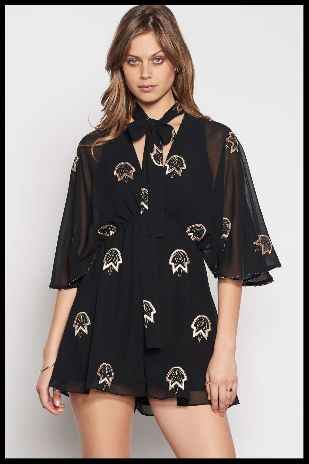 a009b6d94b Stevie May How Long Embroidered Playsuit - Black  Gold