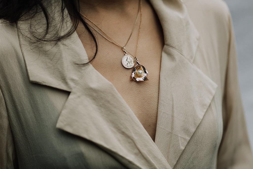 Reliquia | Zanzibar Pearl Pendant & Mini Lucky Coin Pendant + Rue Stiic | Henderson Blazer Dress