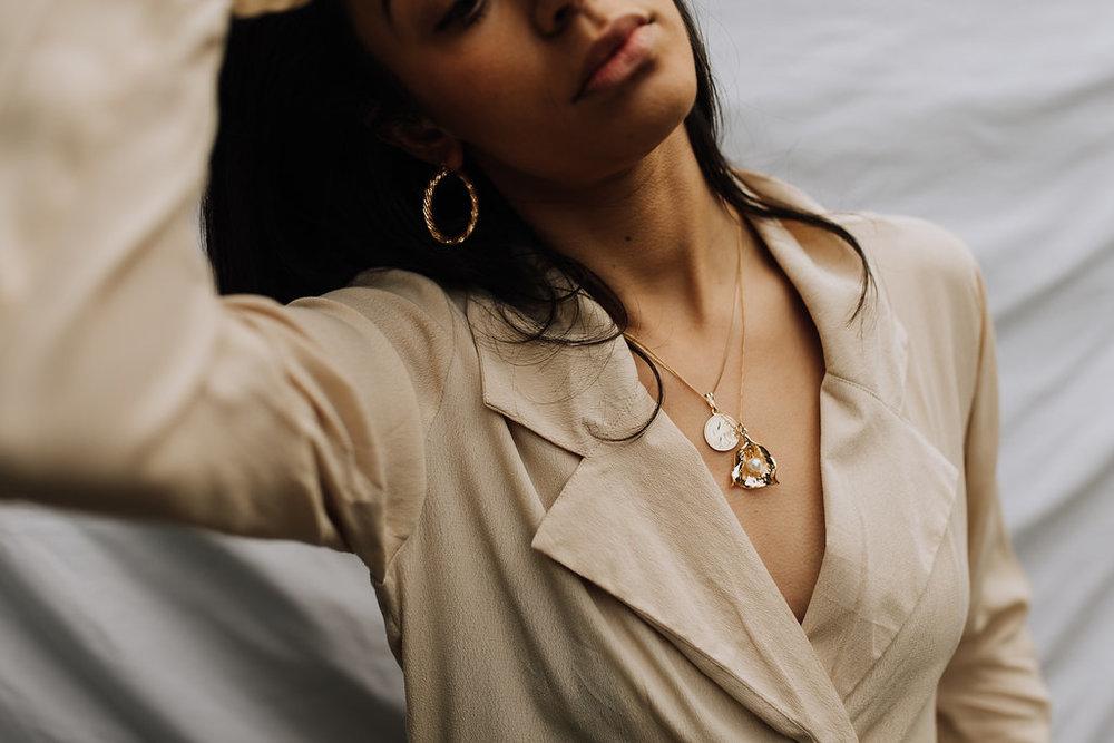 Reliquia | Zanzibar Pearl Pendant & Mini Lucky Coin Pendant & Rope Earrings + Rue Stiic | Henderson Blazer Dress