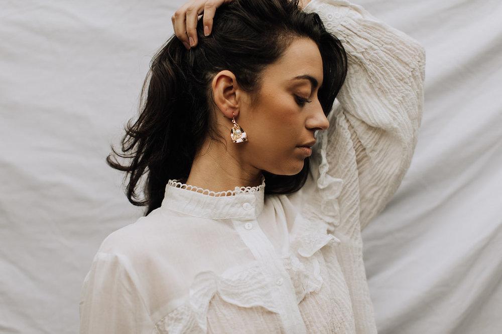 Reliquia | Zanzibar Pearl Earrings + Stevie May | Fantasy Blouse