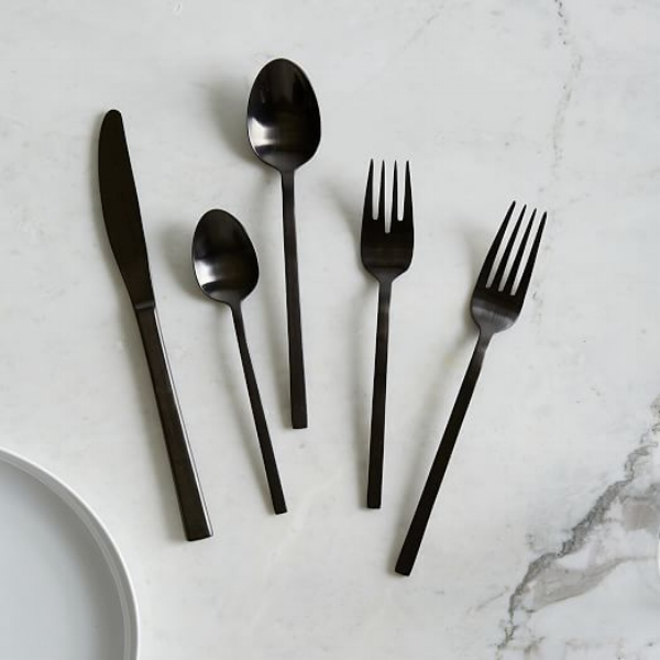 west elm matte black flatware set