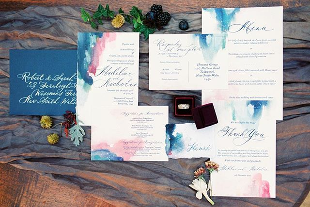 I made this suite last year for Madeline and Nicholas. It's inspired by my Painterly suite. This gorgeous photo and styling is by @caseyjane_photography, she works wonders with my stationery! Ringbox by @heirloombride 🎨