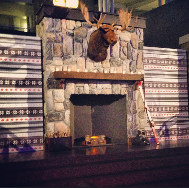 The event had a winter lodge theme complete with a moose over the fireplace (there were also s'mores!)