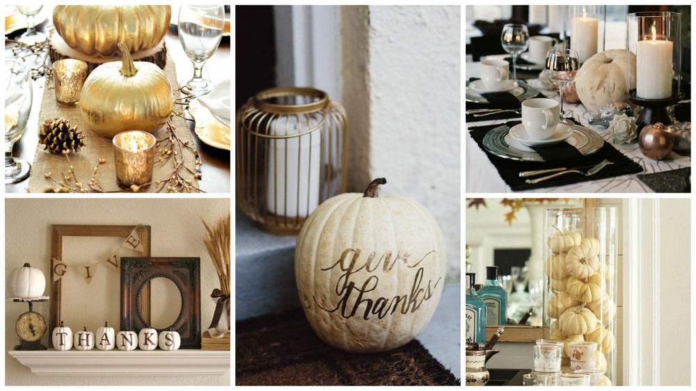 Credit {from top left, clockwise} : 1. Gold painted pumpkins & pine cones from  A Pumpkin & a Princess ; 2. Calligraphed pumpkin from  ;  3.  Sanity Fair ; 4. Mantle vignette from  Here Comes the Sun ; 5. Easy decor using mini pumpkins from  Sanity Fair
