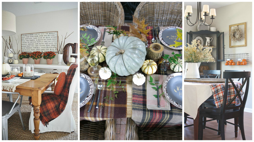 Credit : 1. Cozy textures from  Liz Marie ; 2. Flannel table clothes in varying patterns from  Holly Mathias Interiors ; 3. Runner from the  Golden Sycamore