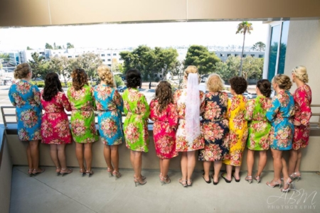 sincerely pete wedding planner coordinating floral bridesmaids robes san diego