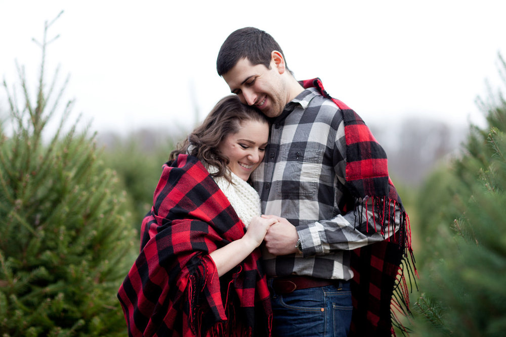 Buffalo Check Christmas Tree Farm Engagement Shoot Sincerely Pete Events Liz and Ryan Photography