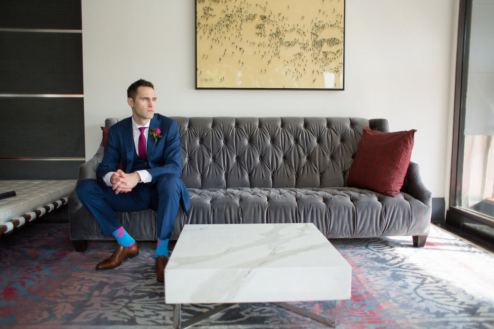 Groom Portrait District Winery Wedding Sincerely Pete Events Olivia Jacob Photography