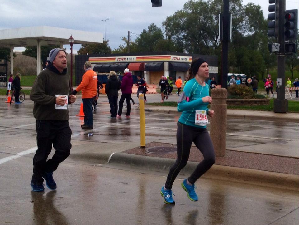 Mankato Half Marathon, photo courtesy of H's mother. :)