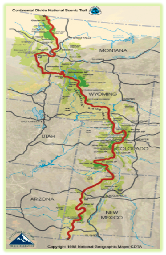 Map of Continental Divide Trail