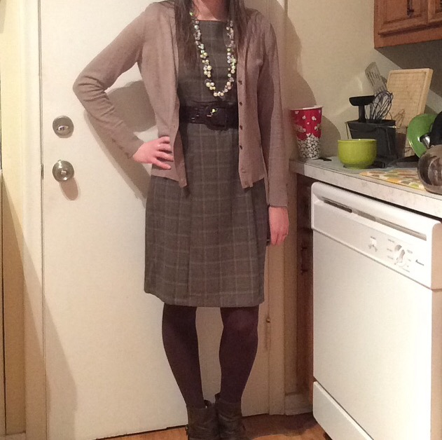 Belted Dress: Maurices Cardigan: New York & Company Tights: Express Booties: Bare Traps Necklace: Chloe + Isabel