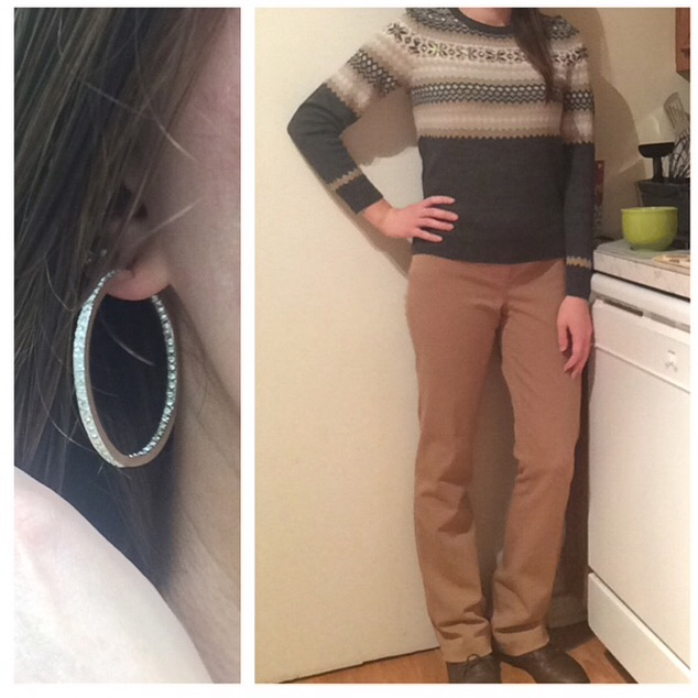 Sweater: The Limited Pants: Express Boots: B2 Earrings: Chloe + Isabel