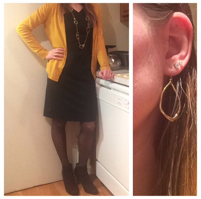 Dress: Target Cardigan: Target Tights: Express Booties: Express Jewelry: Chloe + Isabel
