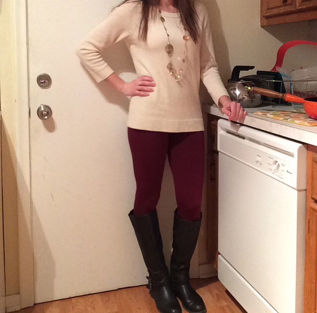 Sweater: Gap Leggings: White Plum Boots: Express Necklace: Chloe + Isabel