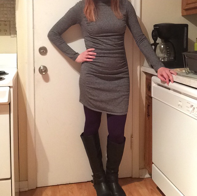 Dress: Express Leggings: White Plum Boots: Express