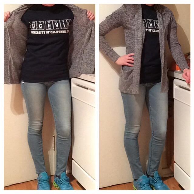 Shirt: UCI Bookstore Sweater: Kirra Jeans: American Eagle Sneakers: Mizuno