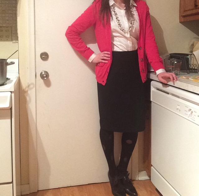 Shirt: The Limited Cardigan: American Eagle Skirt: Target Tights: Via Spiga Heels: Next Necklace: Chloe + Isabel