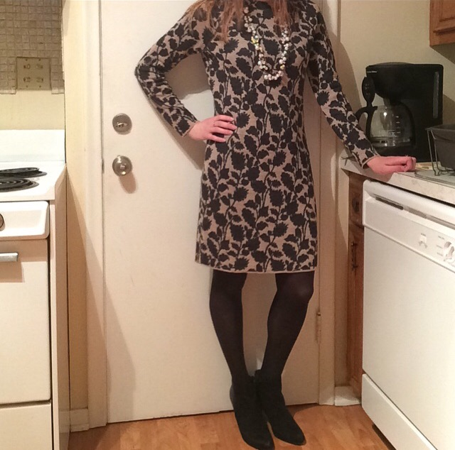 Sweater Dress: LOFT Tights: Express Booties: Express Necklace: Chloe + Isabel