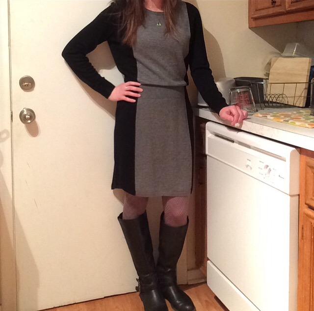 Sweater Dress: LOFT Tights: Via Spiga Boots: Express