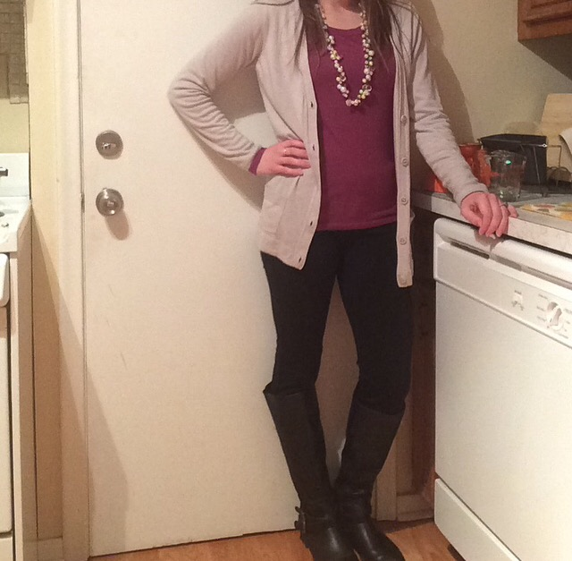 Shirt: Fossil Sweater: Scandal Collection by the Limited Pants: LC Lauren Conrad Boots: Express Necklace: Chloe + Isabel