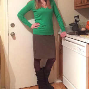 Sweater: The Limited Skirt: The Limited Tights: Express Boots: Kelly & Katie